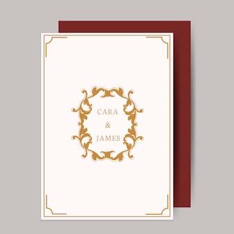 Tarjeta de invitación de boda clásica