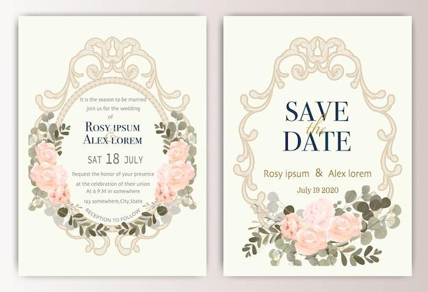 Tarjeta de invitación de boda con coloridas flores y hojas.