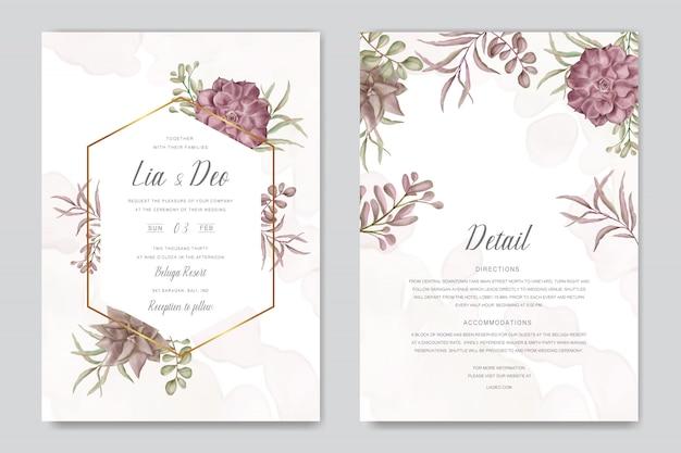 Tarjeta de invitación de boda con coloridas flores y hojas