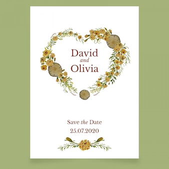 Tarjeta de invitación de boda con corazón de flores amarillas