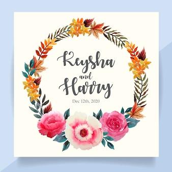 Tarjeta de invitación de boda con corona floral acuarela otoño