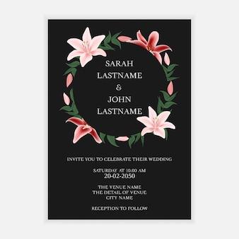 Tarjeta de invitación de boda con corona de flores de lirio