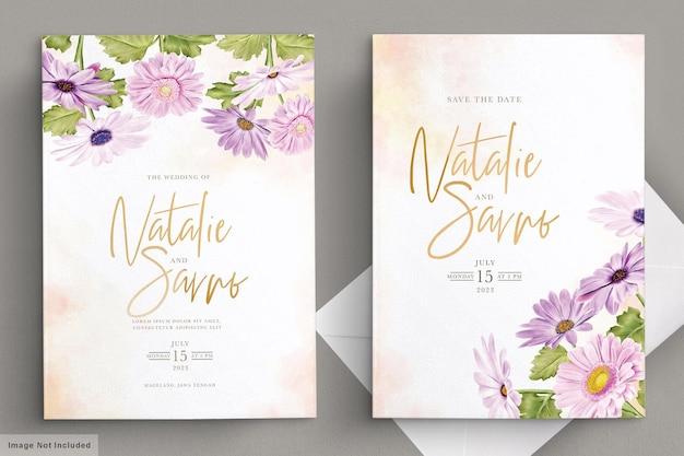 Tarjeta de invitación de boda de crisantemo acuarela