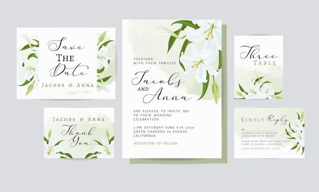 Tarjeta de invitación de boda con decoración floral y hojas.