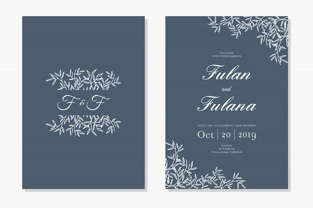 Tarjeta de invitación de boda con decoración floral ornamento dibujado a mano