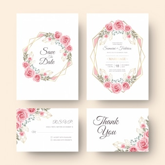 Tarjeta de invitación de boda con decoración de flores de acuarela