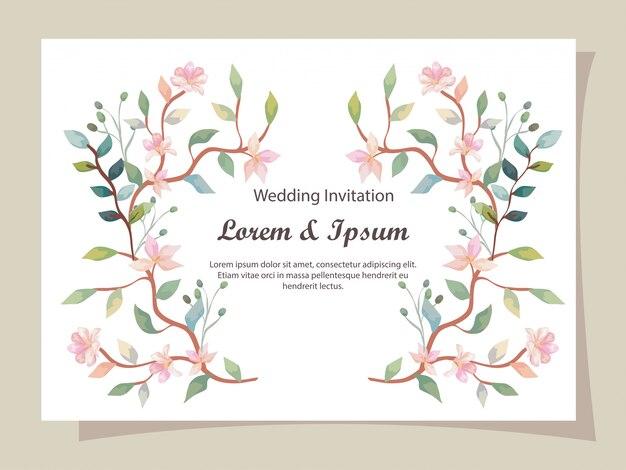 Tarjeta de invitación de boda con decoración de ramas y flores.