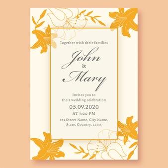 Tarjeta de invitación de boda decorada con flores de lirio amarillo y detalles del evento.