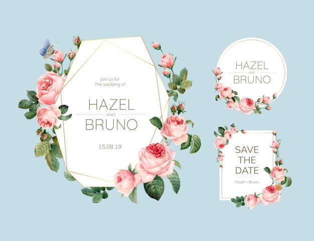 Tarjeta de invitación de boda decorada con rosas vector