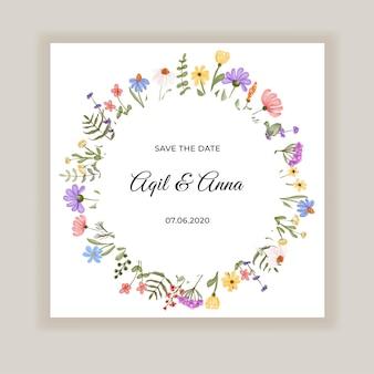 Tarjeta de invitación de boda delicada de flores silvestres