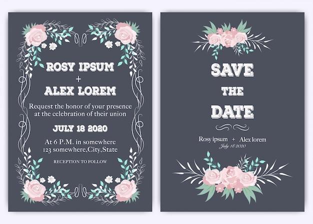 Tarjeta de invitación de boda dibujado a mano floral