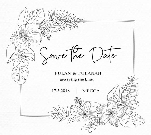 Tarjeta de invitación de boda con dibujo doodle