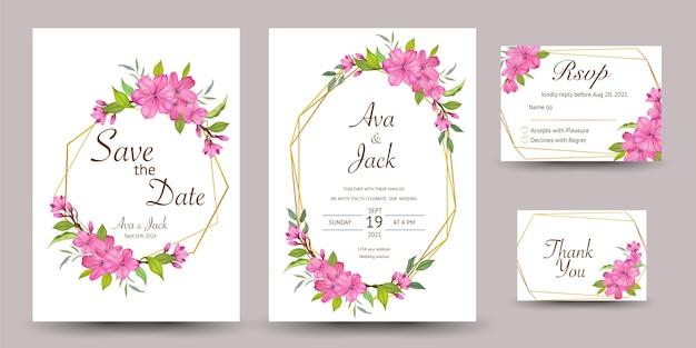 Tarjeta de invitación de boda con diseño de flor de cerezo
