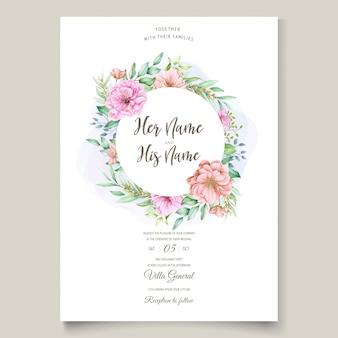 Tarjeta de invitación de boda con diseño floral de flor de cerezo