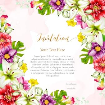 Tarjeta de invitación de boda de diseño floral
