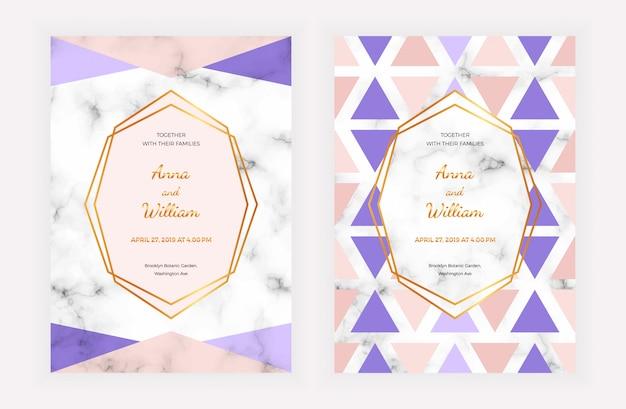 Tarjeta de invitación de boda con diseño geométrico en la textura de mármol