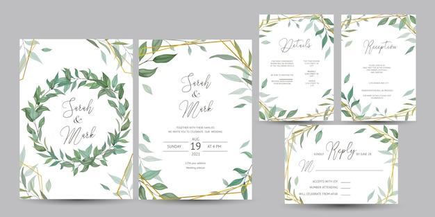 Tarjeta de invitación de boda con diseño de hojas