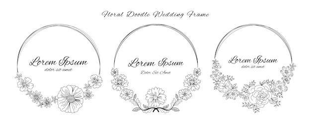 Tarjeta de invitación de boda con doodle bosquejo esquema floral y flor plantilla de estilo de diseño ornamental