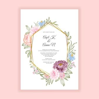 Tarjeta de invitación de boda elegante acuarela marco floral