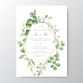 Tarjeta de invitación de boda elegante acuarela