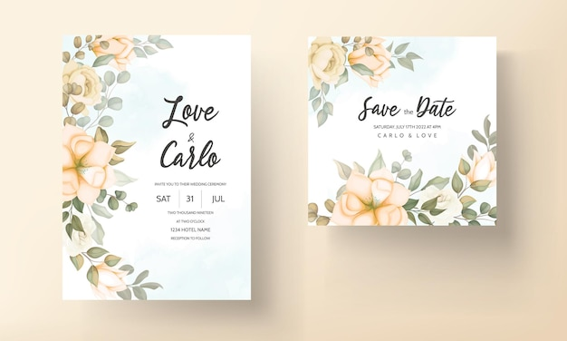Tarjeta de invitación de boda elegante con adornos florales