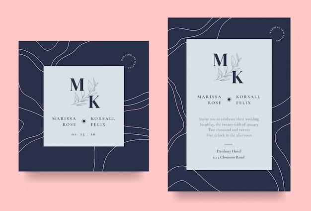 Tarjeta de invitación de boda elegante con arte lineal abstracto