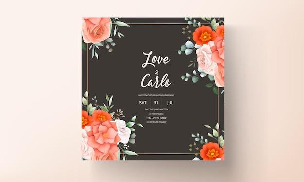 Tarjeta de invitación de boda elegante decorada con hermosas flores naranjas