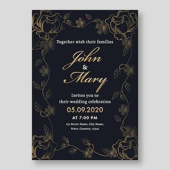 Tarjeta de invitación de boda elegante con detalles del evento.