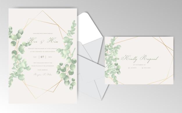 Tarjeta de invitación de boda elegante dibujado a mano con hojas