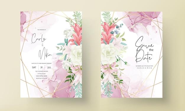 Tarjeta de invitación de boda elegante con dibujo a mano de flores y hojas suaves