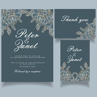 Tarjeta de invitación de boda elegante evento femenino establece tema botánico