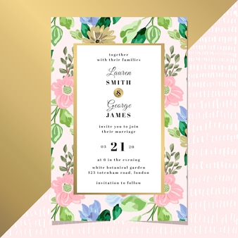 Tarjeta de invitación de boda con elegante fondo floral
