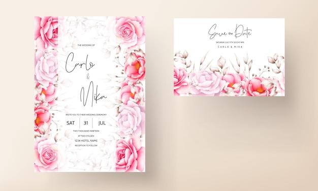 Tarjeta de invitación de boda elegante con hermosa acuarela floral