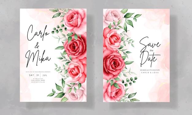 Tarjeta de invitación de boda elegante con hermosa flor de acuarela