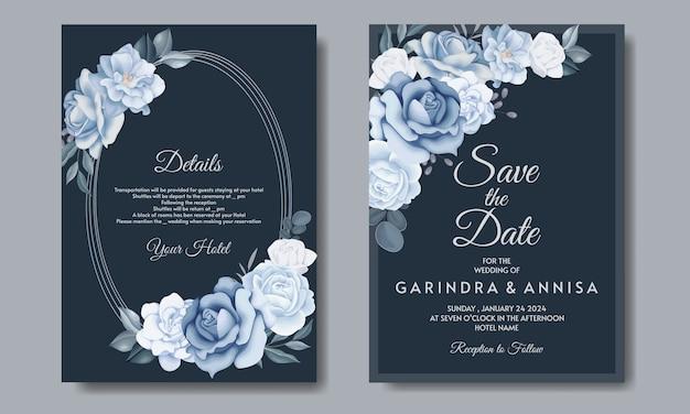 Tarjeta de invitación de boda elegante con hermosa plantilla floral y hojas