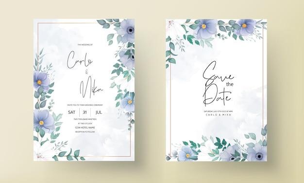 Tarjeta de invitación de boda elegante con hermosas decoraciones florales