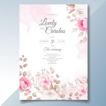 Tarjeta de invitación de boda elegante con hermosas flores