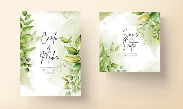 Tarjeta de invitación de boda elegante con hermosas hojas de acuarela
