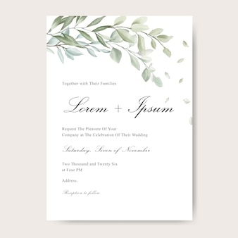 Tarjeta de invitación de boda elegante con hoja de acuarela