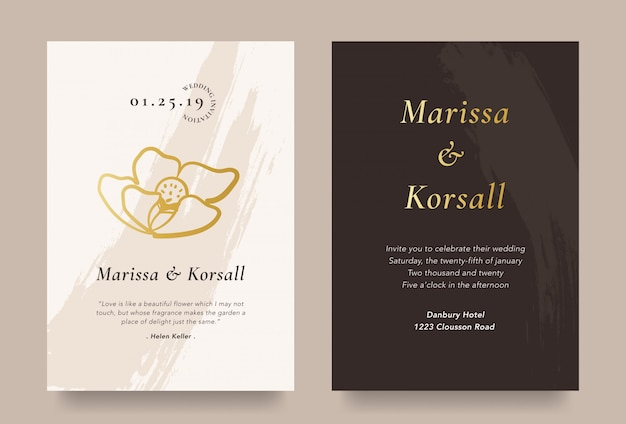 Tarjeta de invitación de boda elegante con ilustración de flor de oro