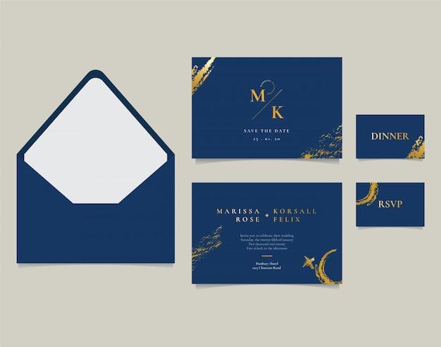 Tarjeta de invitación de boda elegante con pincel de oro abstracto