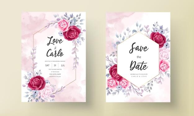 Tarjeta de invitación de boda elegante set acuarela flores y hojas