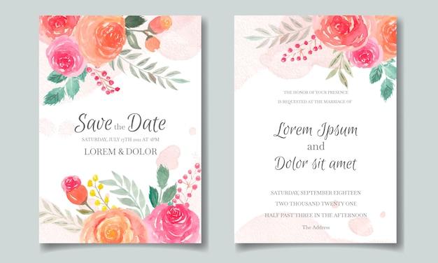 Tarjeta de invitación de boda establece plantilla con flores y hojas de acuarela