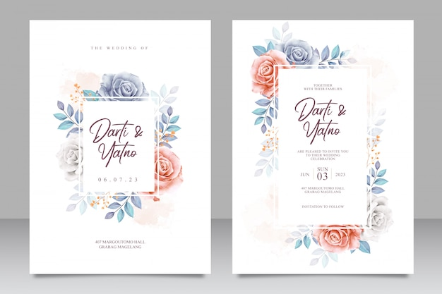 Tarjeta de invitación de boda establece plantilla con hermosas flores y hojas