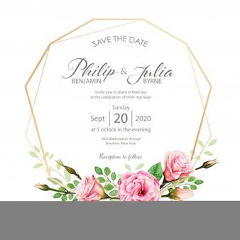 Tarjeta de invitación de boda. estilo de acuarela vector.