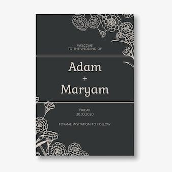 Tarjeta de invitación de boda estilo de diseño clásico simple con fondo floral clavel flor ornamento decoración plantilla
