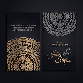 Tarjeta de invitación de boda en estilo de mandala de lujo