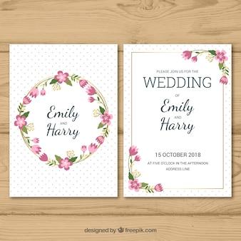 Tarjeta de invitación de boda en estilo plano
