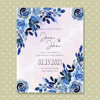 Tarjeta de invitación de boda de flor de acuarela azul