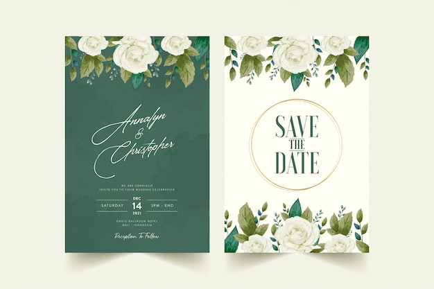 Tarjeta de invitación de boda con flor de acuarela premium free vector